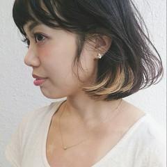 大人かわいい インナーカラー ボブ グラデーションカラー ヘアスタイルや髪型の写真・画像