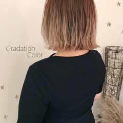 グラデーションカラー ハイトーンカラー ボブ ハイトーンボブ ヘアスタイルや髪型の写真・画像