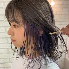 インナーカラーパープル ミニボブ インナーカラー インナーカラーグレー ヘアスタイルや髪型の写真・画像