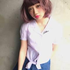 大人かわいい マルサラ ボブ ゆるふわ ヘアスタイルや髪型の写真・画像