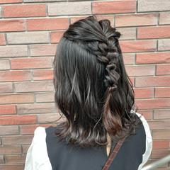 鎖骨ミディアム ガーリー ハーフアップ ボブ ヘアスタイルや髪型の写真・画像
