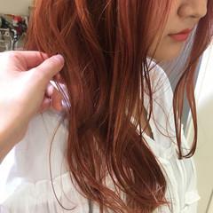 ロング オレンジ 透明感 ピンク ヘアスタイルや髪型の写真・画像