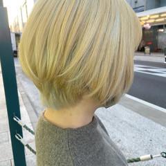ホワイトブリーチ ボブ ミニボブ 大人ショート ヘアスタイルや髪型の写真・画像