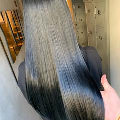 ナチュラル 黒髪 ブラックグレー 艶髪 ヘアスタイルや髪型の写真・画像