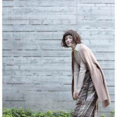 ショートバング ナチュラル ワンレングス ボブ ヘアスタイルや髪型の写真・画像