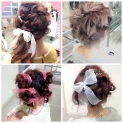 グラデーションカラー セミロング ゆるふわ フェミニン ヘアスタイルや髪型の写真・画像