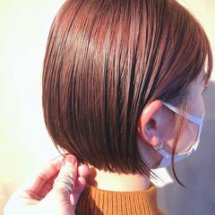 透明感カラー ナチュラル ミニボブ 切りっぱなしボブ ヘアスタイルや髪型の写真・画像