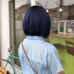 ネイビー 暗髪 ブルー ネイビーアッシュ ヘアスタイルや髪型の写真・画像