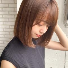 ナチュラル ストレート 縮毛矯正 ミディアムレイヤー ヘアスタイルや髪型の写真・画像