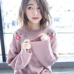 外国人風 ボブ グラデーションカラー ミディアム ヘアスタイルや髪型の写真・画像