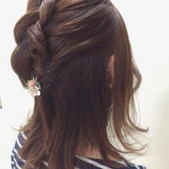 ショート ハーフアップ ボブ ヘアアレンジ ヘアスタイルや髪型の写真・画像