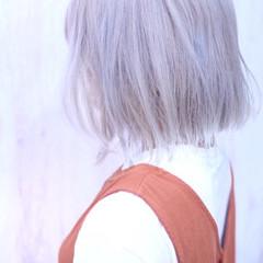 ナチュラル ボブ デザインカラー ブリーチカラー ヘアスタイルや髪型の写真・画像