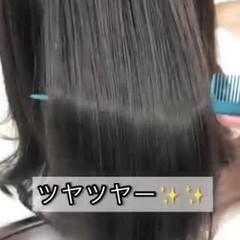 縮毛矯正 ツヤ髪 ミディアム ナチュラル ヘアスタイルや髪型の写真・画像