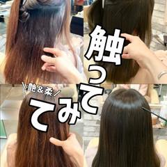 ブリーチなし 縮毛矯正 セミロング 髪質改善 ヘアスタイルや髪型の写真・画像