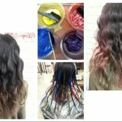 カラフルカラー ピンク オレンジ 黒髪 ヘアスタイルや髪型の写真・画像