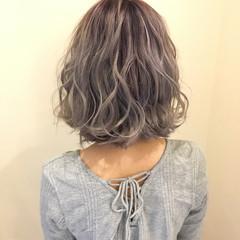 ボブ グラデーションカラー 透明感 フェミニン ヘアスタイルや髪型の写真・画像