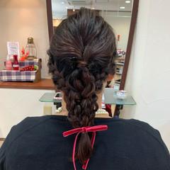 結婚式ヘアアレンジ お呼ばれヘア 編みおろし ヘアアレンジ ヘアスタイルや髪型の写真・画像
