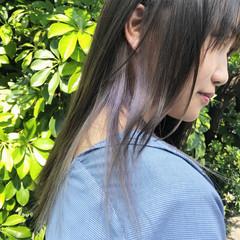 インナーカラーグレージュ ダブルカラー ナチュラル セミロング ヘアスタイルや髪型の写真・画像