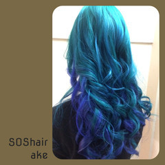 ストリート ダブルカラー カラートリートメント ブルー ヘアスタイルや髪型の写真・画像
