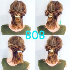 デート ヘアアレンジ フェミニン ボブ ヘアスタイルや髪型の写真・画像