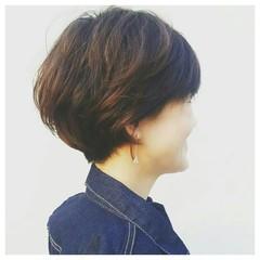 斜め前髪 色気 ショート 40代 ヘアスタイルや髪型の写真・画像