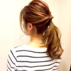 編み込み ミディアム ルーズ 簡単ヘアアレンジ ヘアスタイルや髪型の写真・画像