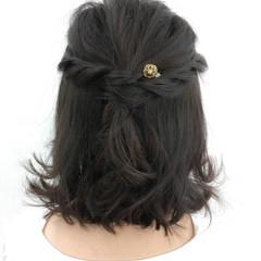 ショート ナチュラル ボブ 簡単ヘアアレンジ ヘアスタイルや髪型の写真・画像