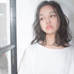 透明感 ミディアム ウェットヘア ボブ ヘアスタイルや髪型の写真・画像