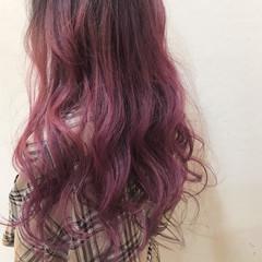 ロング グラデーションカラー ガーリー 派手髪 ヘアスタイルや髪型の写真・画像