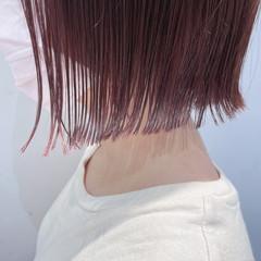ボブ ミニボブ ラベンダーピンク ナチュラル ヘアスタイルや髪型の写真・画像