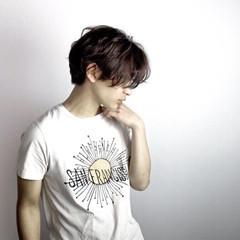 パーマ ショート ボーイッシュ 黒髪 ヘアスタイルや髪型の写真・画像