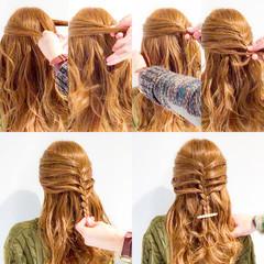 アウトドア 簡単ヘアアレンジ ロング フェミニン ヘアスタイルや髪型の写真・画像