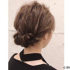 オフィス ショート 簡単ヘアアレンジ ルーズ ヘアスタイルや髪型の写真・画像