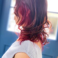 ナチュラル ピンクベージュ ラベンダーピンク セミロング ヘアスタイルや髪型の写真・画像