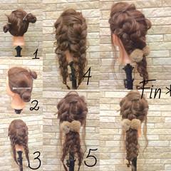 ヘアアクセ 編み込み アップスタイル 大人かわいい ヘアスタイルや髪型の写真・画像