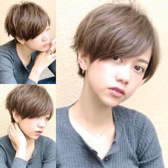 大人女子 外国人風カラー ショート ナチュラル ヘアスタイルや髪型の写真・画像