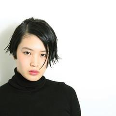 黒髪 ウェットヘア モード ショート ヘアスタイルや髪型の写真・画像