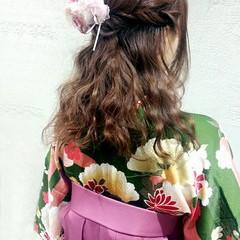 ハーフアップ 謝恩会 セミロング 袴 ヘアスタイルや髪型の写真・画像