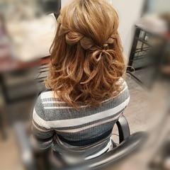 ウォーターフォール ヘアアレンジ ガーリー ミディアム ヘアスタイルや髪型の写真・画像