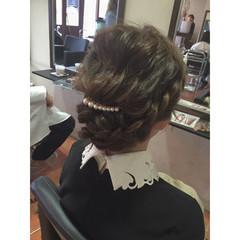 簡単 まとめ髪 編み込み セミロング ヘアスタイルや髪型の写真・画像