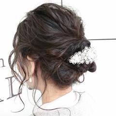 セミロング ナチュラル 結婚式 ヘアアレンジ ヘアスタイルや髪型の写真・画像