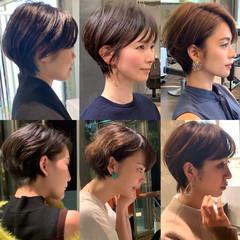 40代 ショートボブ ショートヘア 前髪 ヘアスタイルや髪型の写真・画像