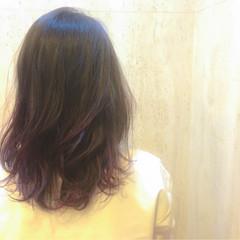アッシュ ゆるふわ グラデーションカラー セミロング ヘアスタイルや髪型の写真・画像