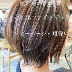 アッシュベージュ ナチュラル アンニュイほつれヘア ボブ ヘアスタイルや髪型の写真・画像