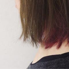 ガーリー ボブ ダブルカラー 大人かわいい ヘアスタイルや髪型の写真・画像
