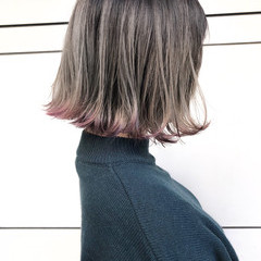 ボブ ロブ ハイライト ナチュラル ヘアスタイルや髪型の写真・画像
