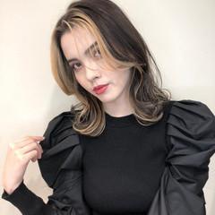 韓国 ミディアム ハイトーンカラー ストリート ヘアスタイルや髪型の写真・画像
