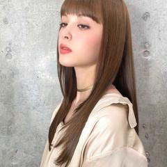 ロング 前髪パッツン 髪質改善トリートメント 髪質改善 ヘアスタイルや髪型の写真・画像