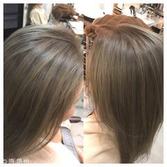 ナチュラル 艶髪 ミディアム ミルクティー ヘアスタイルや髪型の写真・画像