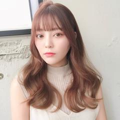 シースルバング 巻き髪 ロング 韓国ヘア ヘアスタイルや髪型の写真・画像